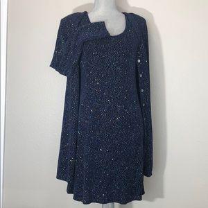 Navy blue holiday sparkle sleeveless dress set
